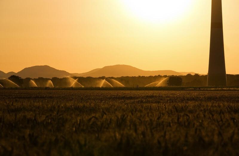 Irrigação de um campo aberto