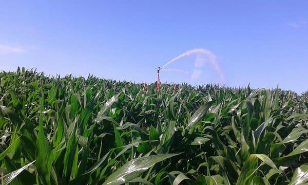 sistema de irrigação autopropelido em funcionamento