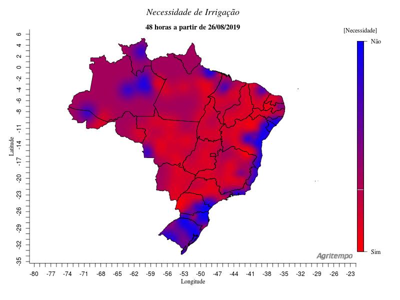 Mapa de necessidade de irrigação nas regiões do Brasil