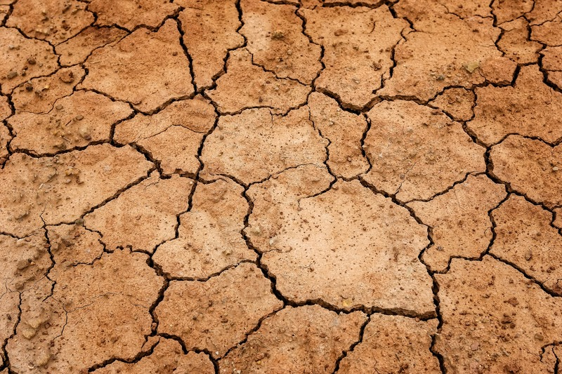 Terra seca por estresse hídrico
